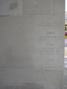 Each pillar is engraved with the names and class year of VT alumni who have died while in service.